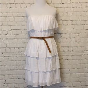 White Strapless Ruffled Dress
